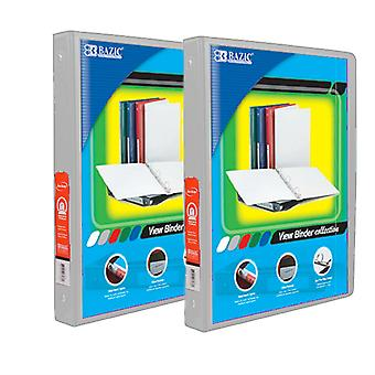 Combo2, BAZIC 1/2 Inch 3-Ring View Binder with 2-Pockets (Case pack of 24: Grey)