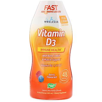 Nature-apos;s Way, Vitamine D3, Saveur naturelle de baies, 1 000 UI, 16 fl oz (480 ml)
