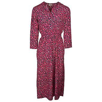 Primrose Park Pink Floral & Leopard Print Design Long Sleeve Midi Dress