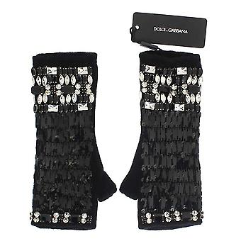 Dolce & Gabbana Black Cashmere Crystal Finger Less Gloves LB65-1