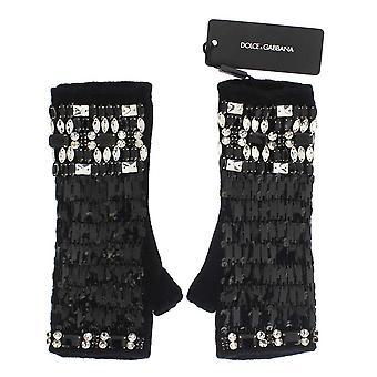 Dolce & Gabbana Schwarz Kaschmir Kristall Finger weniger Handschuhe LB65-1