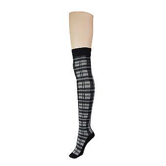 Women's Tartan & Plain Over The Knee High Socks 4-6 UK