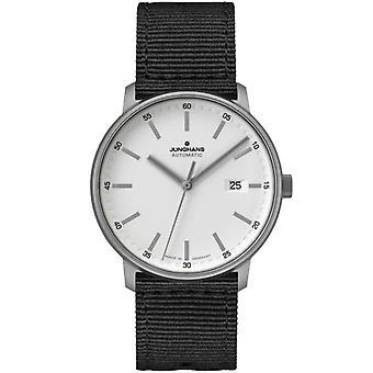 Junghans FORM A Titan Automatic White Dial Black Textile Strap Men's Watch 027/2000.00