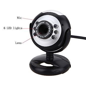 800x600 1.3mp Usb + 3.5mm web-kamera 6-ledet natt-lys Buit-in Mic Clip Cam Webkamera For PC Desktop / laptop / datamaskin