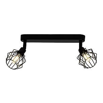 BRILLIANT Lampe Noris LED Spot Bar 2flg sort | 2x LED-T14, G9, 3W LED pære medfølger ( 350lm, 3000K) | Skala