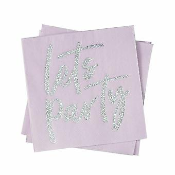 Iridescent LETS PARTY Paper Party Napkins Pack of 16 Disco Party Birthday