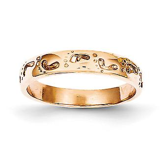 14k Rose Gold Solid Polished Footprints Ring Size 7 Jewely Gifts for Women - 2.8 Grams
