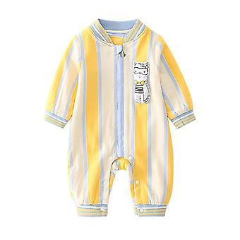Infant Cotton Romper Zipper Snap Button Long Sleeves One Piece