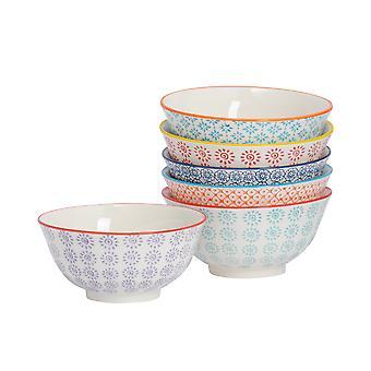 6 Piece Hand-Printed Cereal Bowl Set - Japanese Style Porcelain Breakfast Dessert Serving Bowls - 6 Colours - 16cm