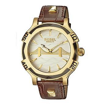 Rebel Men-apos;s RB102-9011 Brooklyn Bridge Gold IP Steel Brown Montre-bracelet en cuir