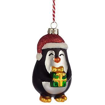 Puckator-pingviini nykyisellä lasijoulupallolla