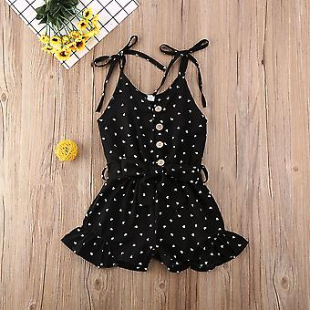 Toddler Baby Clothes Love Peach Heart Print Strap Romper Jumpsuit -outfit