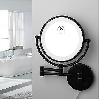 Miroir de maquillage monté sur le mur et grossissant avec bras extensible et flexible