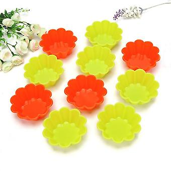 10pcs Silikon Blume Form Kuchen Form Form Pudding Muffin Backform