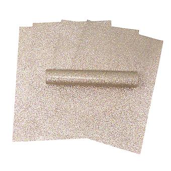 A4 Light Gold Iridescent Colour Mix Glitter Paper Soft Touch Non Shed 100gsm Pack of 10 Sheets