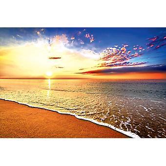 Wandmalerei Wunderschöner tropischer Sonnenaufgang am