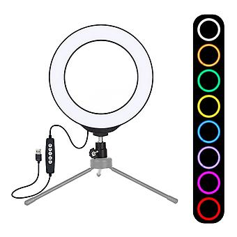 PULUZ 6,2 tum 16cm USB 10 Lägen 8 Färger RGBW dimbara LED-ring Vlogging Fotografi Video Lights med kall sko tripod ball Head(svart)