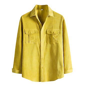 YANGFAN Mens Corduroy Shirt Long Sleeve Casual Button Down Top