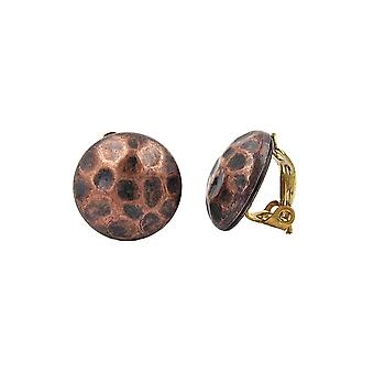 Clip-on Earring Copper Brown Color Hammered