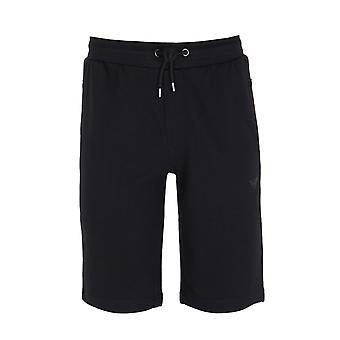 Emporio Armani Black Cotton Blend Sweat Shorts