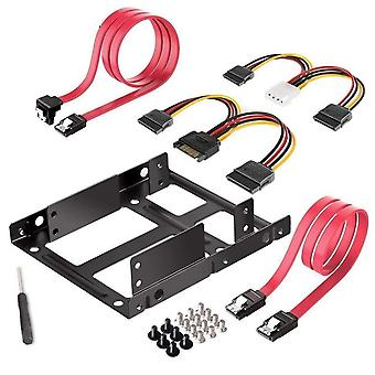 Dual Ssd/hdd Mounting Bracket 3.5 To 2.5 Internal Hard Disk Drive Kit Cables