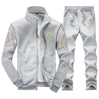 Homme Polyester Sweatshirt Spring Sporting Fleece Jacket + Pantalon Homme Sports Suit