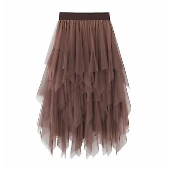 Women's Tulle Skirt, Elastic High Waist, Underskirt Ballet, Irregular Pleated
