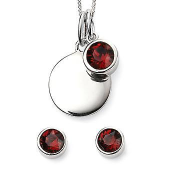 Comienzos 925 Cristal de plata de ley por Swarovski® Febrero Collar de piedra de nacimiento y pendiente joyería conjunto