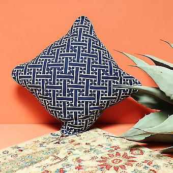 Indigo Hand-stamped Batik Weave Decorative Pillow