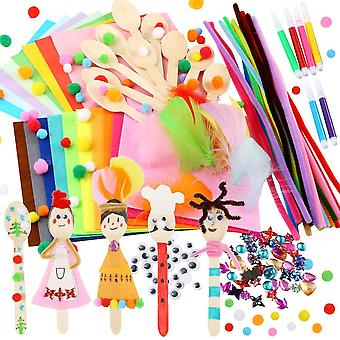 Caydo 10 sets wooden spoons kit including pipe cleaner, pom poms, felt, wiggle eyes, feather, origam