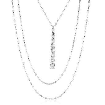 """Sterling Silber Multi Strand Fancy Link Quaste Halskette, 18"""""""