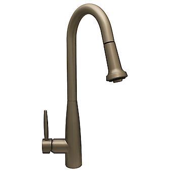 Jem Collectin Single Hole / Single Lever Handle Faucet con beccuccio girevole a collo d'oca e testa spray pull-down - nichel spazzolato