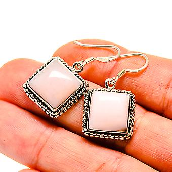 "Pink Opal Earrings 1 1/4"" (925 Sterling Silver)  - Handmade Boho Vintage Jewelry EARR411124"
