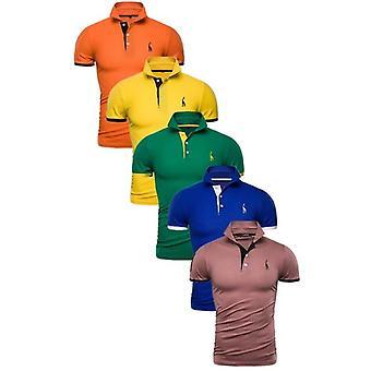 الرجال بولو الصلبة سليم صالح قصيرة الأكمام قميص الترقيع