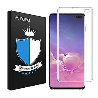 Alinsea Screen Protector Compatible for S10 Plus/+ Tempered Glass [Full Adhesive] [Fingerprint Sensor Compatible] [3D Glass] [Case Friendly] 9H Glass Screen Protector for Samsung Galaxy S10 Plus/+