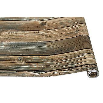 Retro Faux Wood Grain Peel Stick Wallpaper Self-adhesive Wood Plank Roll