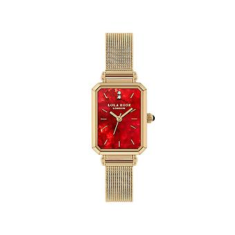 Lola Rose Lr4152 Red Dial Stainless Steel Strap Watch For Women
