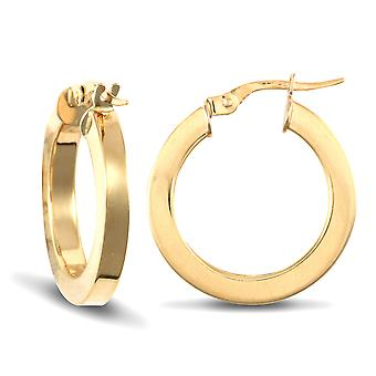 Jewelco London Ladies 9ct Yellow Gold Square Tube 3mm Hoop Brincos 20mm
