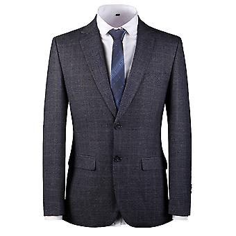 YANGFAN Men's Plaid Blazer Notched Lapel Single Breasted Slim Fit Two Buttons Black