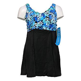 Fit 4 U Swimsuit Wrap Swim Dress W/ Design Blue A391968