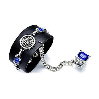 2pcs Jewelry Set 1 Black Butler Anime Ring 1 Bracelet en cuir pour la collection