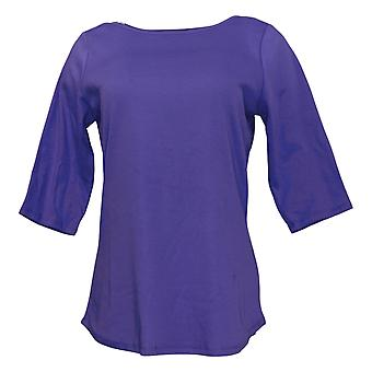 Denim & Co. Women's Top Interlock Boatneck Ballet Sleeve Purple A453866