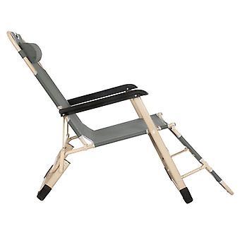 Tuin ligstoel met ergonomische hoofdsteun - Grijs/Creme