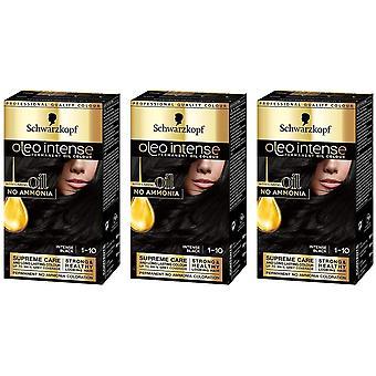 Schwarzkopf Oleo Intense 1-10 Voimakas Musta Pysyvä Hiusväri Väri x 3