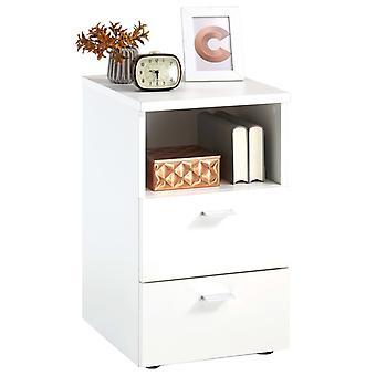 FMD Nachttisch mit 2 Schubladen und Offenem Regal Weiß