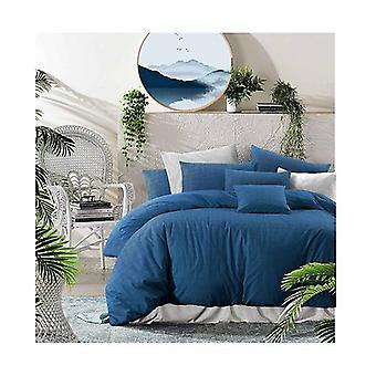 Amsons Nautical Twilight Cotton Quilt Cover Set Textured Print Blue