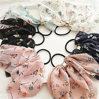 6Pcs chiffon buckle bow hair accessories hair ring suitable for women or children