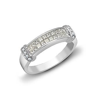 Jewelco London Ladies 18ct White Gold Channel Set Princess G SI1 0.52ct Diamond Dual Row Collared Eternity Ring 4mm