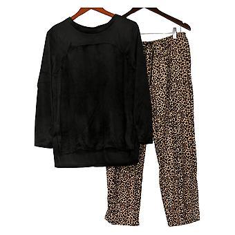 Carole Hochman Women's Set Petite Silky Velour Fleece PJ Black A368291