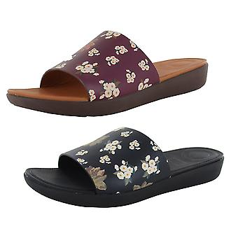 Fitflop Womens Sola Dark Floral Cuir Slide Shoes